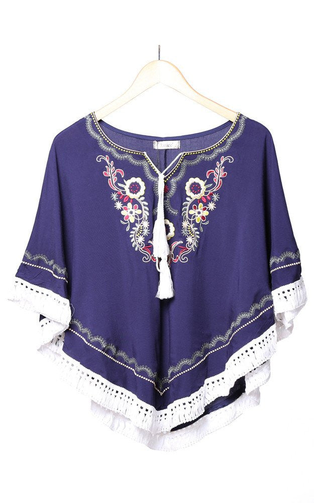 Witchy Poo's Navy Embroidered Poncho