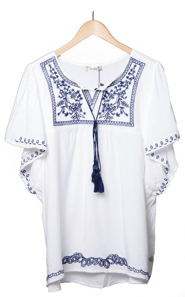 Witchy Poo's White Embroidered Dolman Sleeve Top