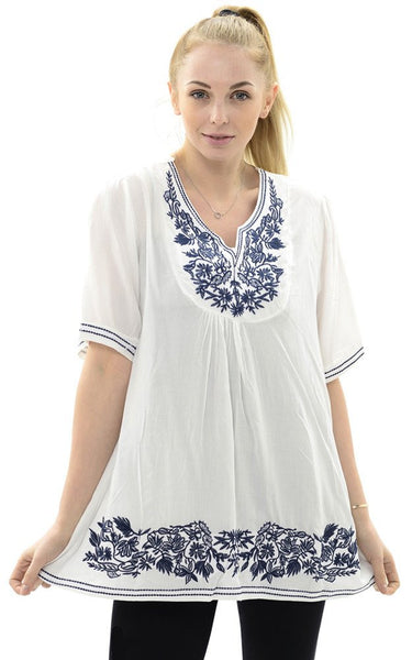 Witchy Poo's White Wide Embroidery Top