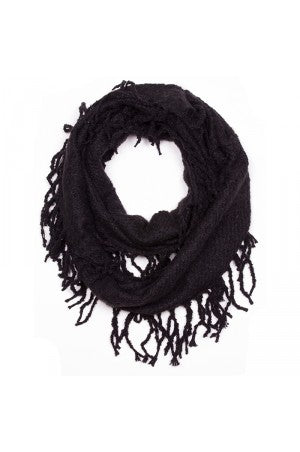 Witchy Poo's Black Chenille Fringe Infinity Scarf