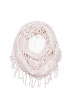 Witchy Poo Winter White Chenille Fringe Infinity Scarf