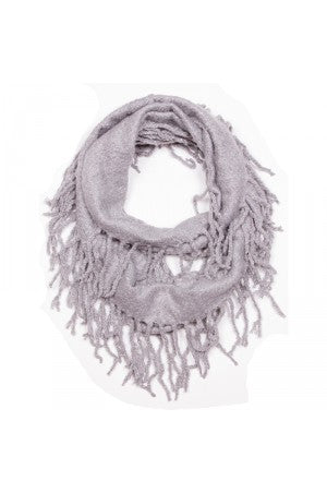 Witchy Poo Gray Chenille Fringe Infinity Scarf