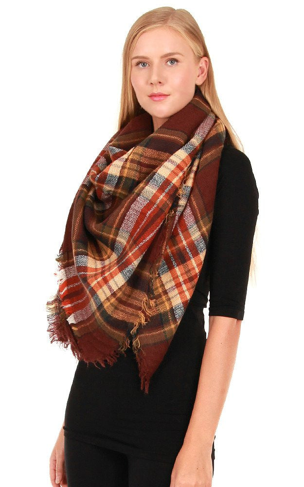 Witchy Poo's Classic Plaid Brown Blanket Scarf
