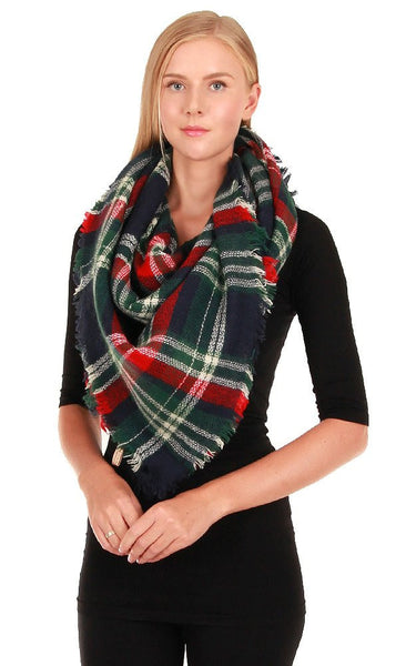 Witchy Poo's Navy Classic Plaid Blanket Scarves