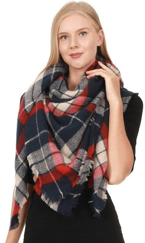 Witchy Poo's Navy & Red Plaid Blanket Scarf