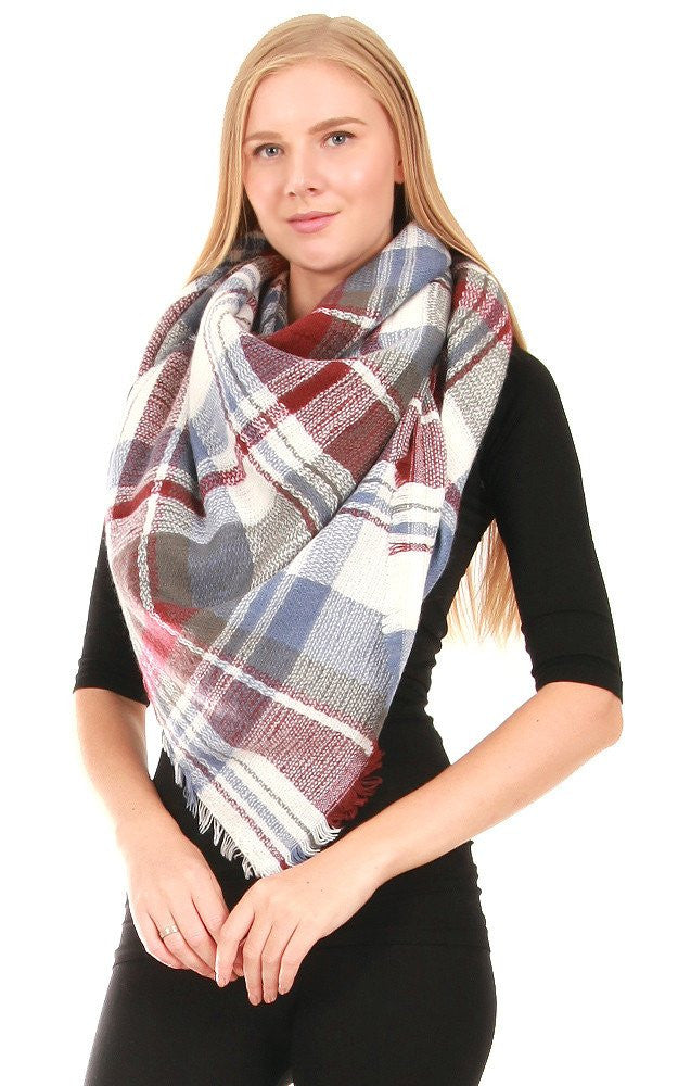 Witchy Poo's Charcoal and Denim Wide Plaid Scarf