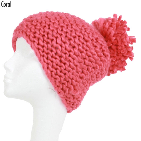 Witchy Poo's Coral Waffle Knit Hat with Pom Pom