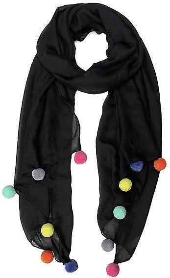 Witchy Poo's Black Pom Pom Scarf