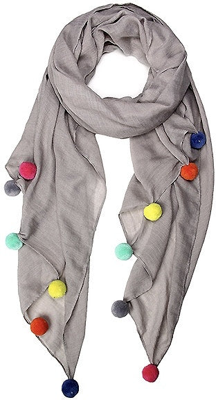 Witchy Poo's Grey Pom Pom Scarf