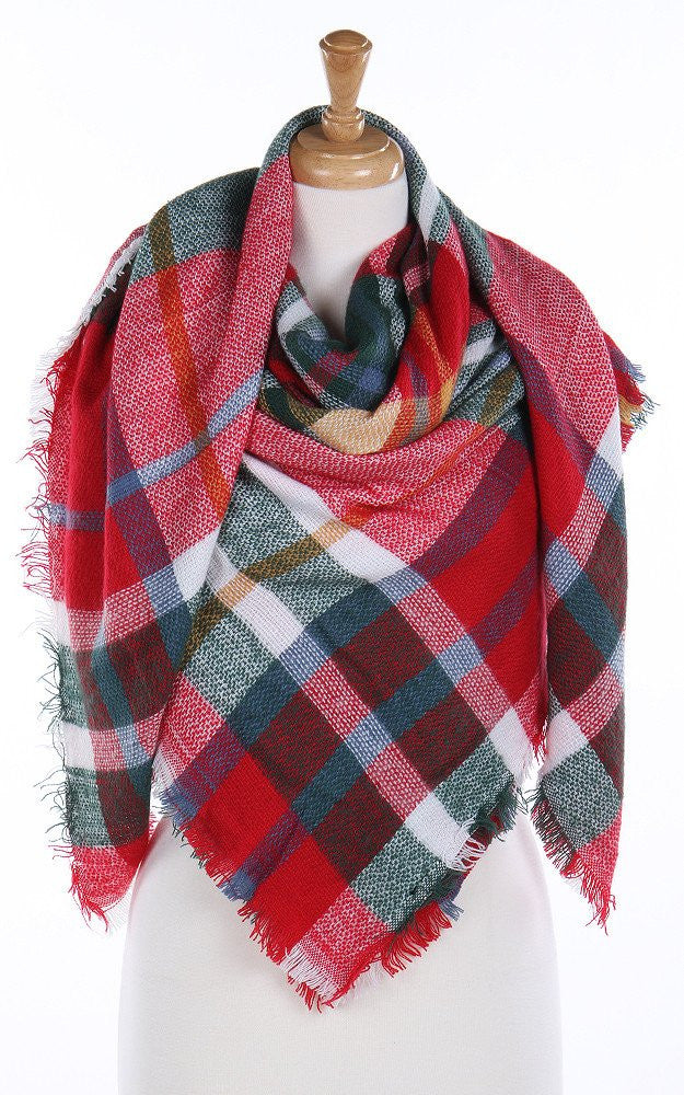 Witchy Poo's Red & White  Plaid Blanket Scarf