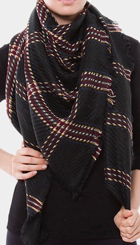 Witchy Poo Black and Camel Ticket Stripe Blanket Scarf