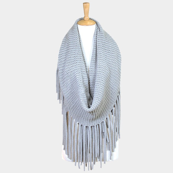 Witchy Poo's Long Gray Fringe Infinity Scarf