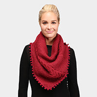 Witchy Poo's  Burgandy Pom Pom Cable Knit Infinity Topper