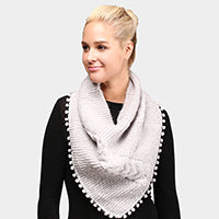 Witchy Poo's Gray Pom Pom Cable Knit Infinity Topper