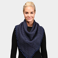 Witchy Poo Navy Pom Pom Cable Knit Infinity Topper