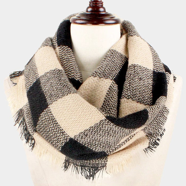 Witchy Poo's Black and Tan Buffalo Plaid Infinity Scarf