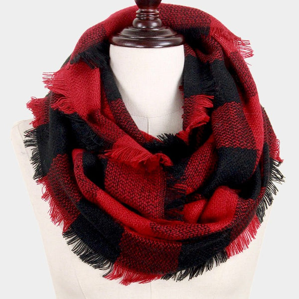 Witchy Poo's Red and Black Buffalo Plaid Infinity Scarf
