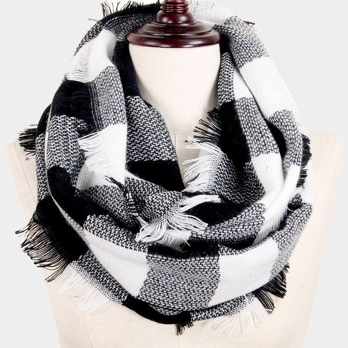 Witchy Poo's Black and White Buffalo Plaid Infinity Scarf