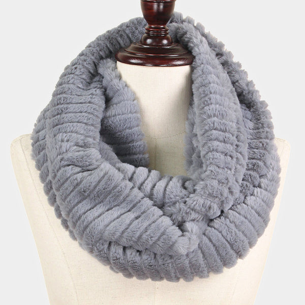 Witchy Poo's Gray Faux Fur Infinty Scarf