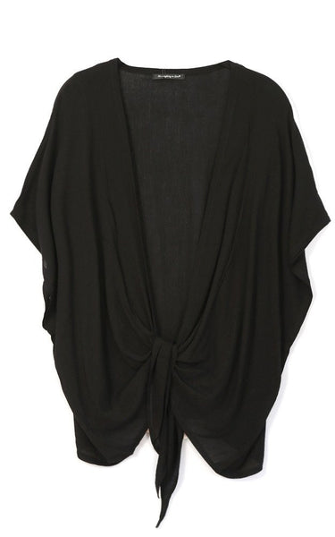 Witchy Poo's Black  Knotted Front Top