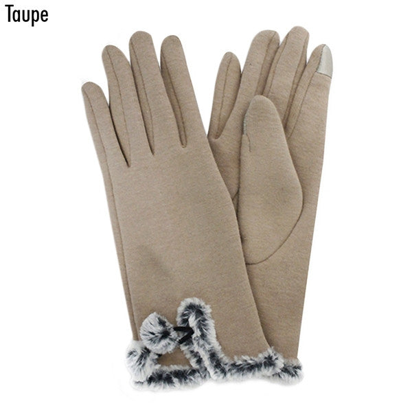 Witchy Poo's Taupe Fur Trim Gloves