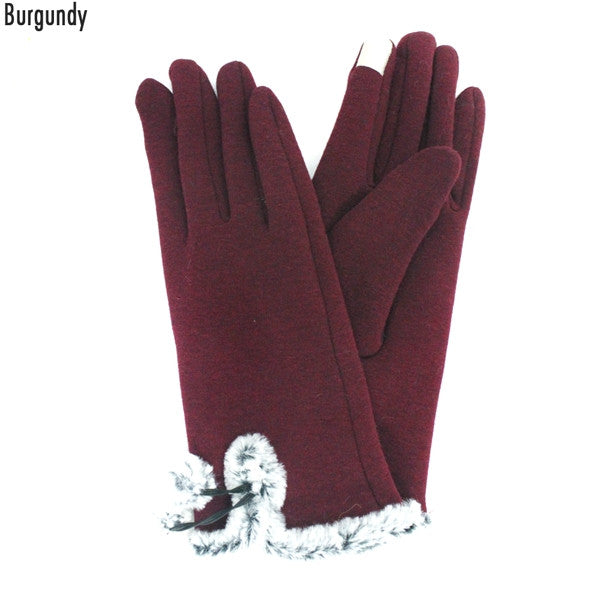 Witchy Poo's  Burgandy Fur Trim Gloves