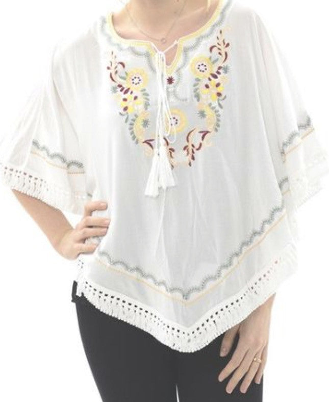 Witchy Poo's White Embroidered Poncho