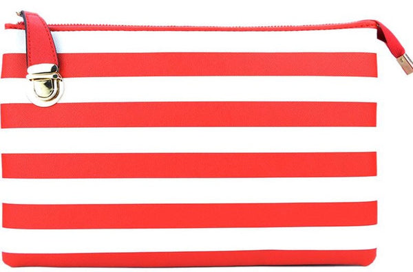 Witchy Poo's Nautical Stripe Buckle Clutch