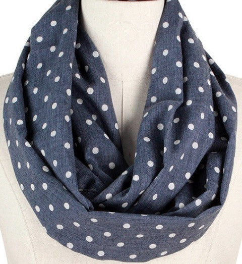 Witchy Poo's Gray Polka Dot Infinity Scarf