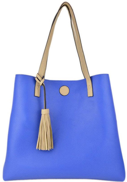 Witchy Poo's Light Beige /Royal Tassel Tote