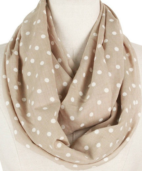 Witchy Poo's Taupe & White Dot Infinity Scarf