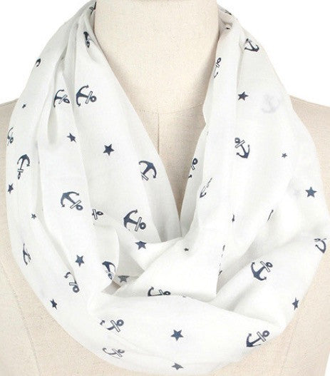 Witchy Poo's Navy Anchor Infinity Scarf