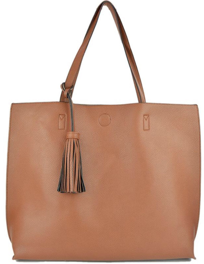 Witchy Poo's Camel/Beige Tassel Tote