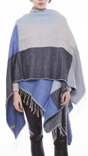 Witchy Poo Blue Color Block Shawl with Fringe
