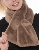Taupe Faux Fur Key Hole Scarf