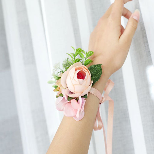 Blush Pink Flower Wrist Corsage, Flower Hand Bracelet, Bridesmaids Wrist Corsage, Bridesmaids Flower Accessories, Flower Girl Accessories