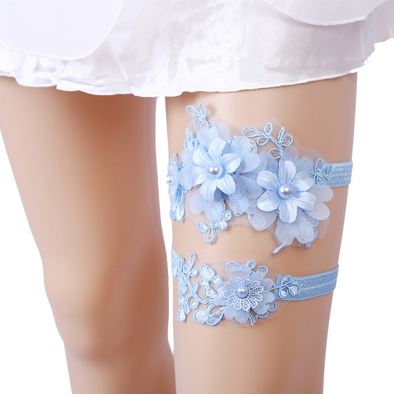 Blue Bridal Garter, Wedding Garter Set, Bride Garter Set,Toss Garter , Something Blue Garter, Beaded Floral Garter,Garters For Wedding