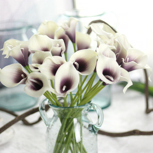 Comfyee Purple Fake Realistic Cala Lilies Silk Flower