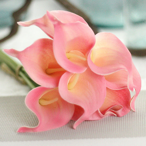 Comfyee Pink Fake Realistic Cala Lilies Silk Flower