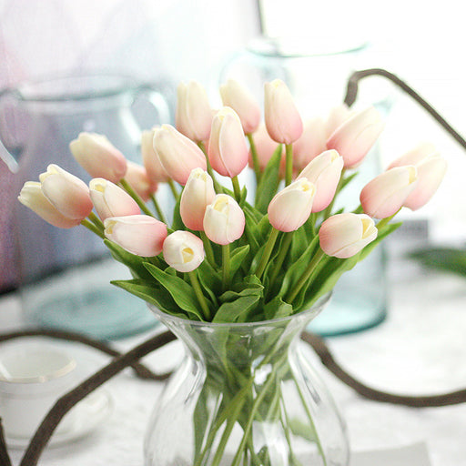 Comfyee White Pink Bridal Artificial Tulip Silk Flower