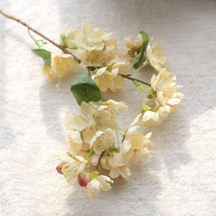 Comfyee White Weddings Hand Flowers Fake Artificial Cherry Blossom Silk Flower