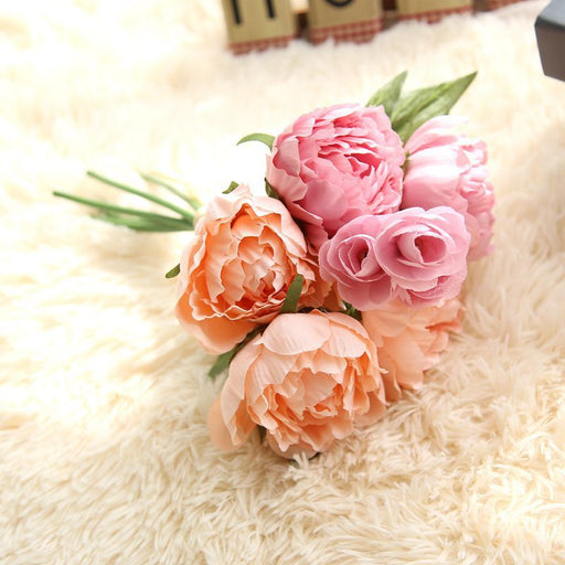 Comfyee champagne peony bouquet artificial flowers