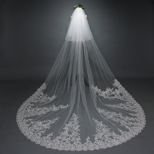 Ivory Flower Bridal Veil,Luxury Wedding Veil, Wedding Veil with Applique, Boho Wedding Veil, Leaf Lace Veil,Cathedral Wedding Veil with Lace