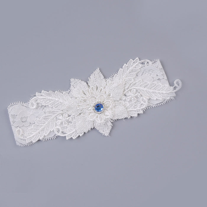 White Bridal Garter, Lace Garter, Retro Floral Lace Garter, Wedding Garter, Garter With Navy Blue, Something Blue Garter,Toss Garter