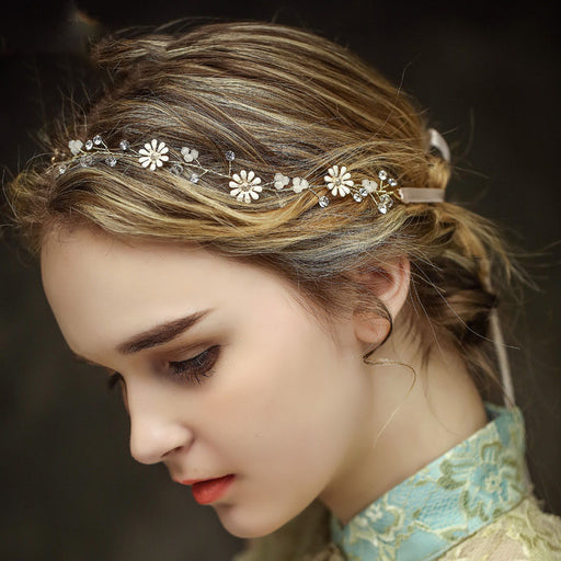 Handmade headdress golden small daisy wedding bridal hair band wedding accessories hair band