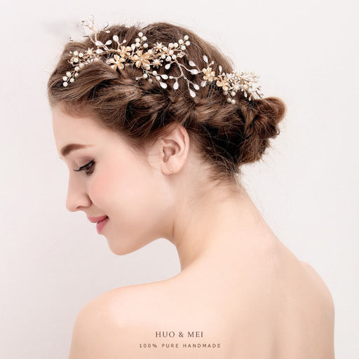Handmade inlaid pearl headdress wedding plug comb bridal hair comb