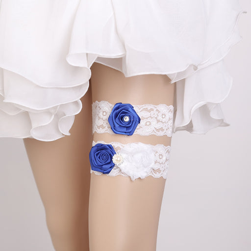 Royal Blue Bridal Garter , Lace Garter, Wedding Garter, Something Blue Garter, Garter With Blue