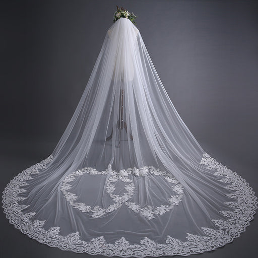wedding/bridal veil/sheer veil/ drop wedding veil/one piece wedding veil/long wedding veil/wedding veil with blusher/comb/custom design veil