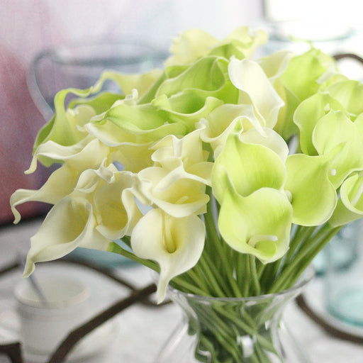 Comfyee Green Fake Realistic Cala Lilies Silk Flower