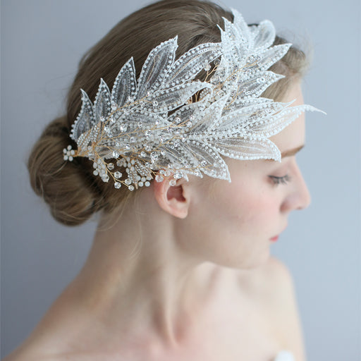 Handmade large feather side clip side hair accessories bridal hair clip